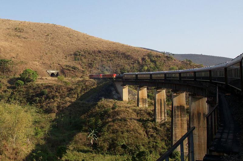 Rovos Rail Pride of Africa on the bridge across the Mpanga River in Tanzania. This viaduct is 160 feet high and the tunnel that it heads into is one-half mile long. David Brossard/Wiki Commons