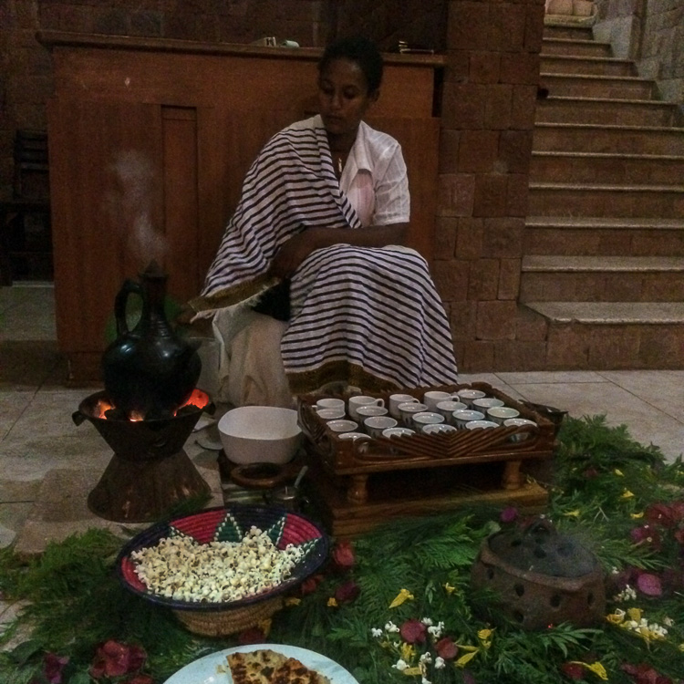The best cup of coffee we have ever had – a coffee ceremony at Mountain View Hotel in Lalibela. Ethiopia. Copyright Roger and Pat de la Harpe
