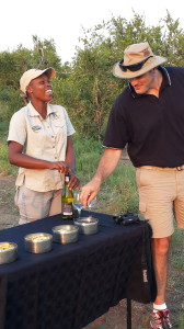 My son Simon chats to Mjejane guide, Nompilo Pile.
