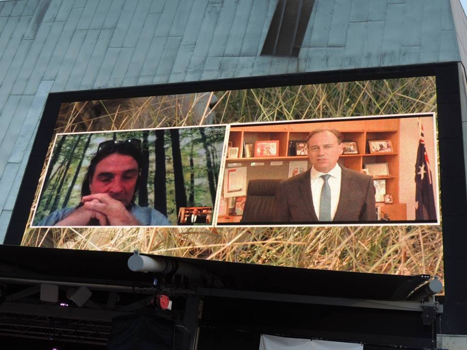 Ian Michler appearing in a live link with Greg Hunt, Australian Minister for the Environment, in Melbourne.