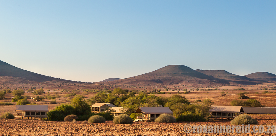 Desert Rhino Camp lies low, dwarfed by the ancient landscape.